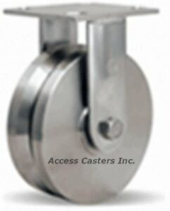 R sta 6vsb 6 Hamilton Stainless Steel V groove Rigid Caster 800 Lbs Capacity