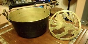 Used Lovely Solid Brass Pot Fire Ornament Lion Plant Stand Vintage Antique