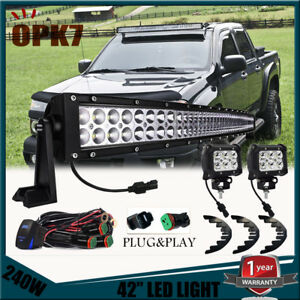 42inch 240w 4 Led Work Light Bar wiring Kit Chevy Colorado Gmc Canyon 2004 12