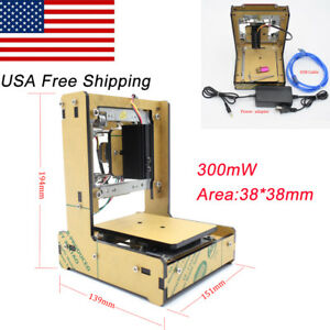 300mw 38 38mm Area Mini Laser Engraving Cutting Machine Printer For Wood Leather