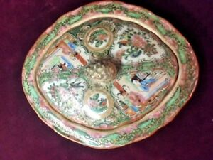 Asian Antiques Porcelain Bowl Veggie W Lid Rose Medallion 1850 1899 China