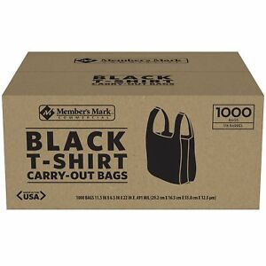 T shirt Carry Out Plastic Bags Recyclable Retail Grocery Shopping Black 1000 Ct