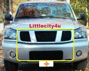 For 2004 2005 2006 2007 Nissan Titan Armada Black Billet Grille Combo Inserts