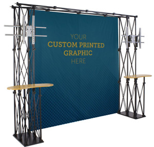 11 Trade Show Truss Booth W Custom Printed Backdrop 2 Counters 2 Tv Mounts