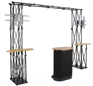11 Portable Trade Show Truss Booth Display W Shelves 2 Counters 2 Tv Mounts