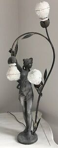 Antique Art Nouveau French Nude Figural Lamp Czech Beaded Shade Newel Post