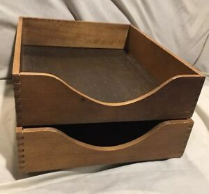 Vintage Wood Desk Tray Letter Organizer Letter Size excellent Condition 2 pcs