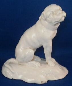 Antique 19thc French Faience Pug Dog Figurine Figure Porcelaine Statuette France