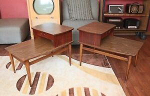 Pair Lane Mid Century Modern Walnut 2 Tier Step End Table With Drawer