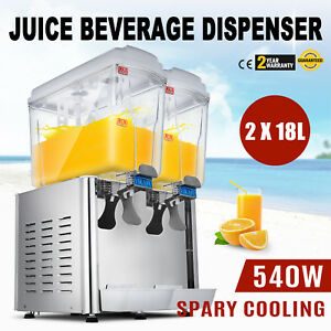36l Commercial 2 Tank Juice Beverage Dispenser Cold Drink Jet Spray Refrigerate