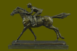 Horse Racing Fan Thoroughbred Horse Jockey Racetrack Bronze Statue Sculpture Art