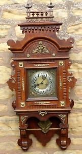 Rare Large Carved Walnut Gustav Becker Black Forest Wall Clock Vienna Style