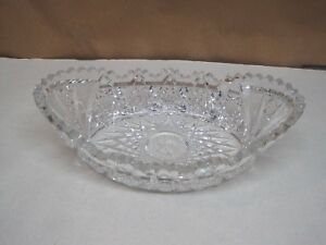Antique American Brilliant Period Cut Glass Oval Bowl