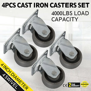 4 Swivel Cast Iron Casters Set Of 4 Zinc Plating 1000lbs Freight Terminals