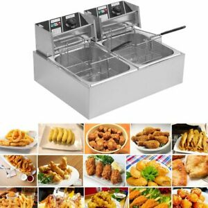 20l Dual Tanks Electric Deep Fryer Commercial Tabletop Fryer basket Scoop 5k