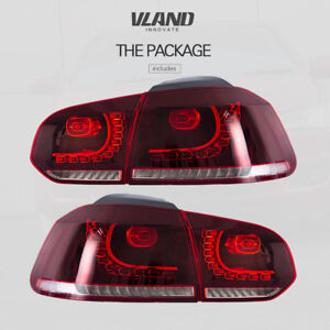 Full Led Tail Light For Vw Golf Mk6 2010 2014 Cherry Red Clear Tail Lights