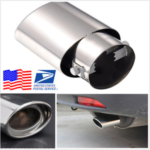 Us Universal Chrome Oval Exhaust Tip 56mm Inlet Stainless Steel Car Muffler Pipe