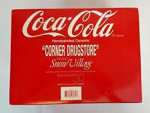 Dept 56 Snow Village Coca Cola CORNER DRUGSTORE Lighted Building #54844 MIB