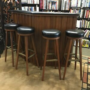 Vintage Mid Century Modern Teak Bar With 4 Swivel Stools
