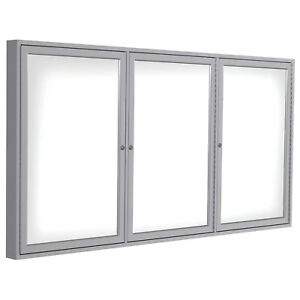 Ghent Enclosed Porcelain Whiteboard White 72 X 36 3 Door Lot Of 1