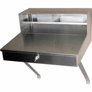 Wall mount Stainless Steel Shop Desk 24 w X 23 d X 12 h Gray Lot Of 1