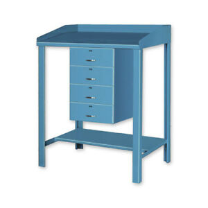 Open Steel Shop Desk With Four Drawers 36 w X 30 d X 43 h Blue Lot Of 1