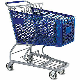 Versacart 174 Blue Plastic Shopping Cart 6 3 Cu Foot Capacity Lot Of 1