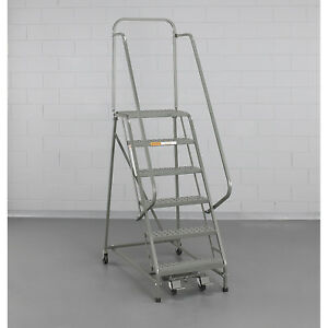 Ega L024 Steel Industrial Rolling Ladder 4 step 24 Wide Perforated Gray 450