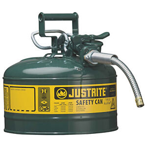 Justrite 7225420 Type Ii Accuflow Steel Safety Can 2 5 Gal 5 8 Metal Hose