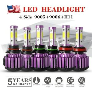 6pc X 4 Sides Cob Led Headlights Kits Mini Car Light Bulbs 9005 9006 Hb3 Hb4 H11
