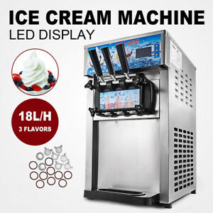 Frozen 3 Flavors Commercial Soft Ice Cream Machine Ice Cream Cones Pickup