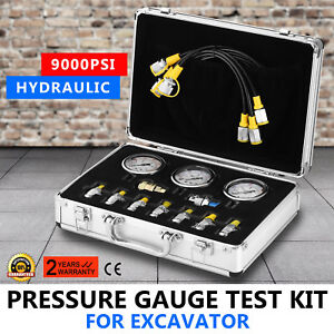 Hydraulic Pressure Guage Test Kit 9000psi Test Coupling 9 Couplings Excavator