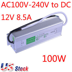 Us Stock 100w Waterproof Led Power Supply Transformer Driver Metal Cover