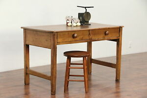 Country Pine Antique Primitive Desk Kitchen Island Work Table 29490