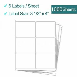 6000 Premium Address Shipping Labels 3 1 3 X 4 For Laser Inkjet Printers 6 up