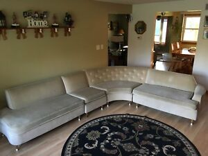 Vintage 4 Piece Mid Century Sectional Sofa Neutral Color 1960s
