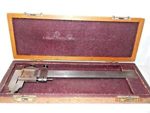 Vintage Starrett 122 Inside Outside 0 6 Steel Vernier sliding Caliper In Box