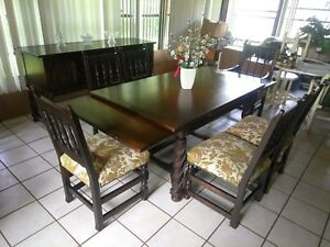 Jacobean Style Dining Room Set Table 6 Chairs Buffet Early 20th Century