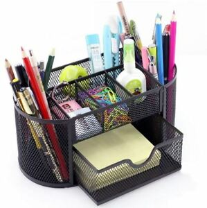 Decobros Desk Organizer Supplies Office Holder Mesh Caddy Storage Pencil Drawer