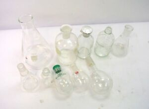 13 Pc Laboratory Lab Glass Set Flask Beaker Bottle Round Bottom Borosilicate