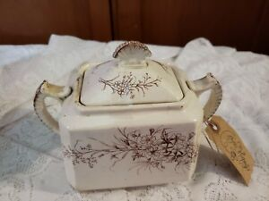 Antique W C Hanley Porcelain Sugar Bowlw Lid Wild Flowers Pattern Transferware