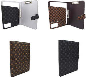 A4 Folder Custodia Faux Leather Portfolio Organiser Ring Binder Black Stationar