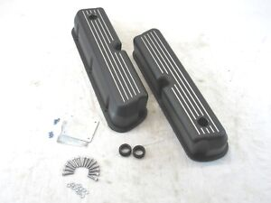 Small Block Ford 5 0l Aluminum Valve Covers Ball Milled W Hole Black Bpe 2204b