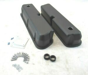 Sbf Ford 289 302 5 0l Aluminum Valve Covers Smooth W Hole Black Bpe 2205b