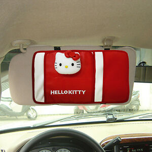 New Hello Kitty Sun Visor Leather Organizer Holder Storage Car Accessories