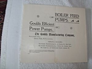 Goulds Mfg Co 1895 12 Pg Brochure Boiler Feed Pumps