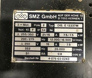 Smz Spindle Motor Dis E13337 M For Weeke Bp150 Optimat