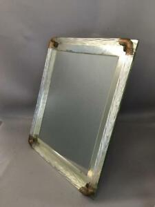 Shabby Vtg Chic Italian Murano Venetian Mirrored Glass Filigree Picture Frame