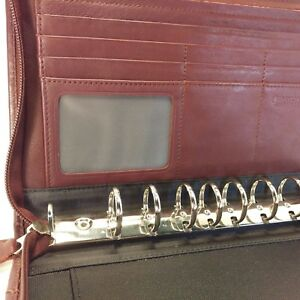 Day timer Burgundy Leather Classic Desk Zipper Planner Daytimer Franklin Covey