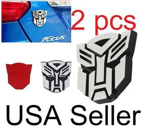 2pcs 3d Autobot Transformers Emblem Badge Decal Car Truck Sticker Silver Size 3